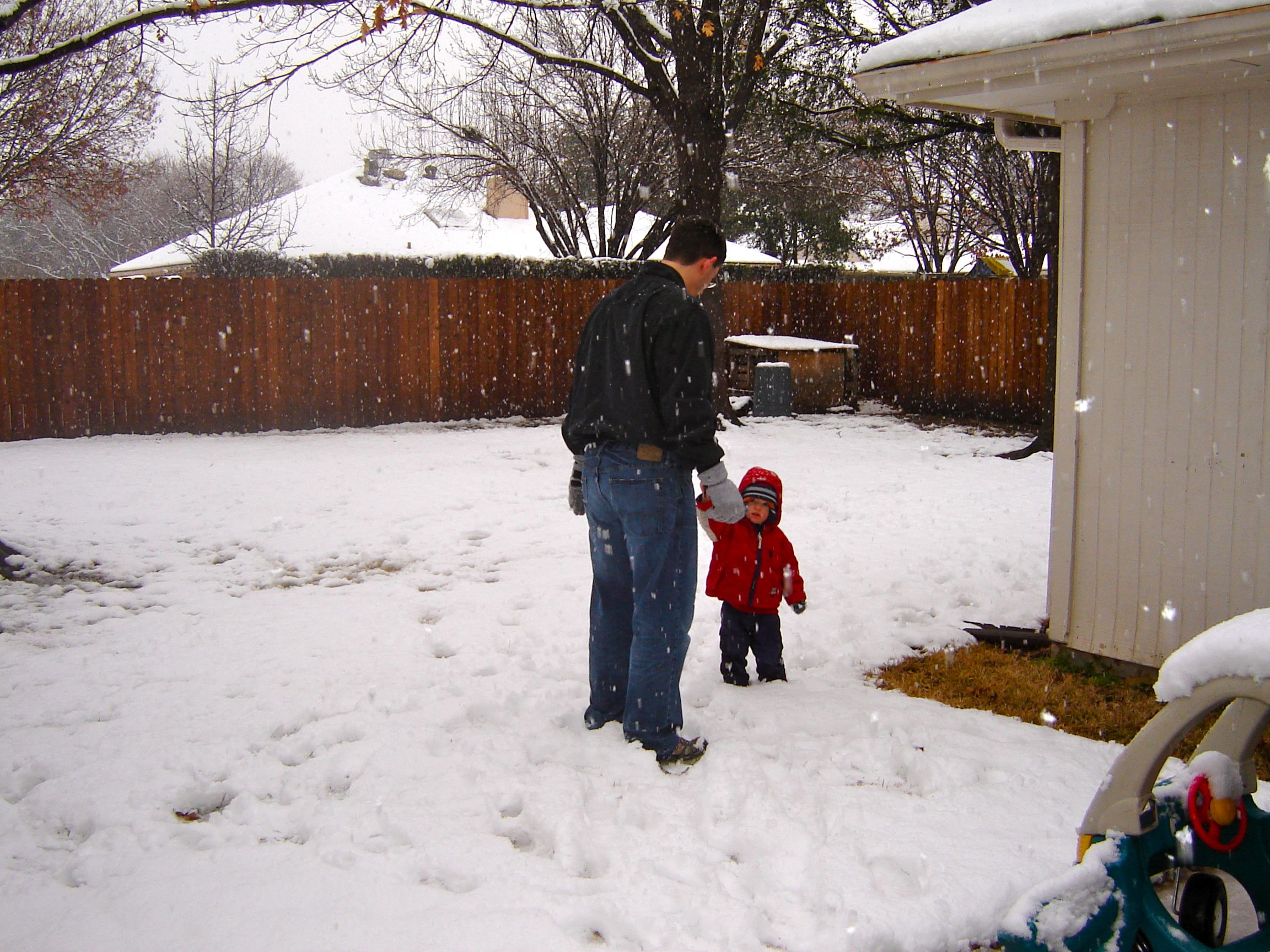 backyard snow and baby makes five