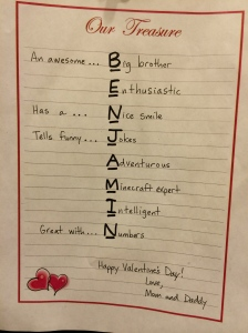 The acrostic poem we wrote for Benjamin as a Valentine surprise in his class