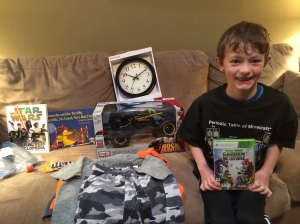 Benjamin with his birthday gifts